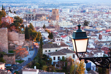 Top view of  Granada in evening