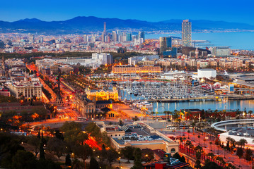 Port Vell in Barcelona during sunset. Catalonia