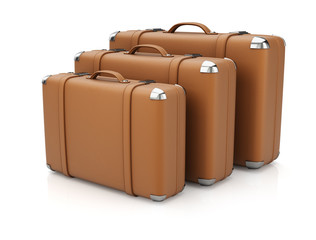Group of leather suitcases