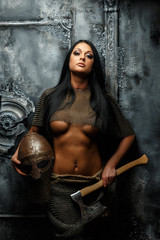 Beautiful female in ancient armor