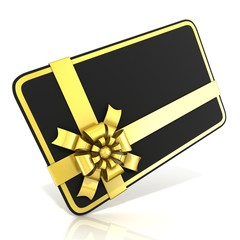 Black blank gift card, with golden ribbon. Side angled view
