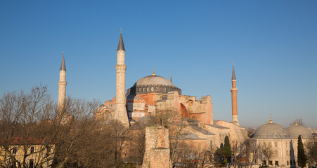 Hagia Sophia cathedral at sunset