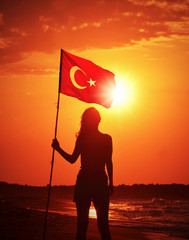 Young  Woman Holding Turkish Flag