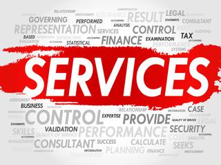 SERVICES word cloud, business concept
