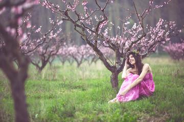 Woman in spring garden