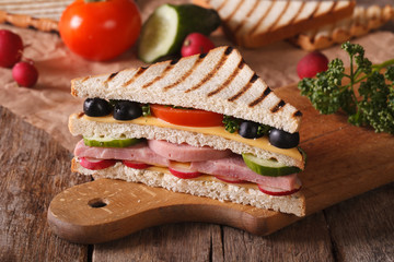 Sandwich with ham, vegetables on the board horizontal