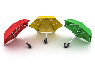 three colored umbrellas