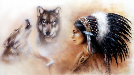 painting of a young indian woman wearing and two wolfs