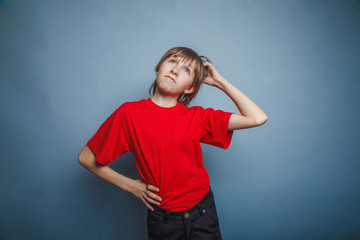 Boy, teenager, twelve years in  red shirt, thoughtful, derzhet h