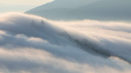 Clouds over calvary - Slovakia landscape, Motion Time lapse