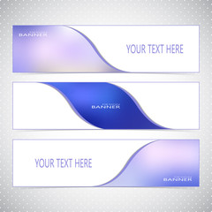 Horizontal Set of Banners with Multicolored Blured Backgrounds