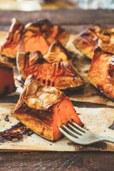 Sliced baked pumpkin