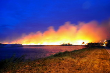 A large fire in a field near the water