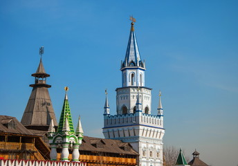 Walls and towers of  fortress in  old Russian style in Moscow