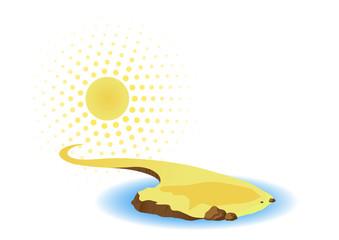 Sun and island with sea.