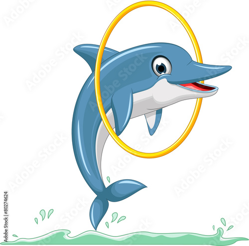 Fototapeta cute dolphin cartoon jumping