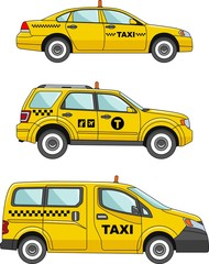 Taxi car on a white background in a flat style