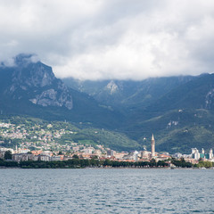 Beautiful view of Lecco on Como lake, Italy
