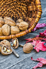 Walnuts in rustic basket on old wood table with fall leaves