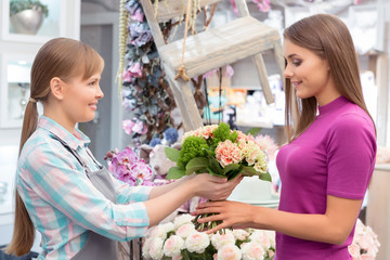 Paying with credit card at florist shop