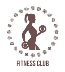 Fitness logo with woman silhouette.Woman holds dumbbells.