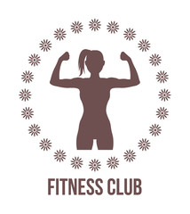 Fitness club logo with woman silhouette