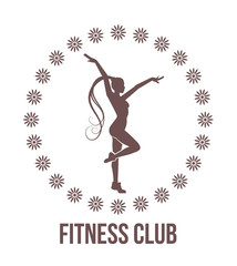 Fitness club emblem with woman silhouette