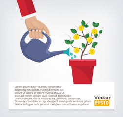Human hand with can watering money tree