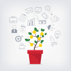 Money tree in red pot and business icons set