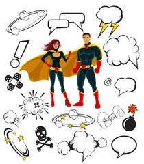 Superheroes and cartoon speech bubbles and design elements