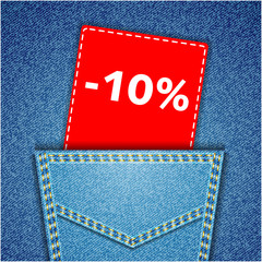 Blue back jeans pocket realistic denim texture with number perce