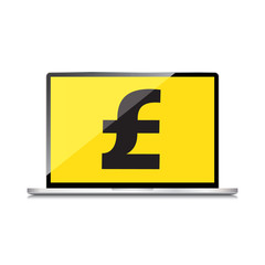 High-quality laptop screen with the Pound symbol. Economy concep