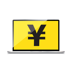 High-quality laptop screen with the Yen symbol. Economy concept.