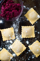 Homemade roasted beet ravioli Pasta