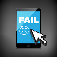 Fail and lost concepts display on High-quality smartphone screen