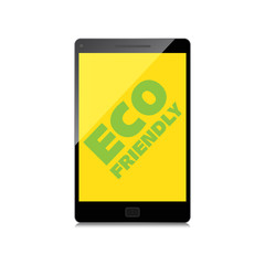Eco friendly word on High-quality smartphone screen. Think Green