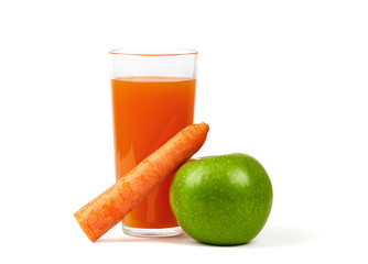 Fresh Apple, Carrots and Glass Juice