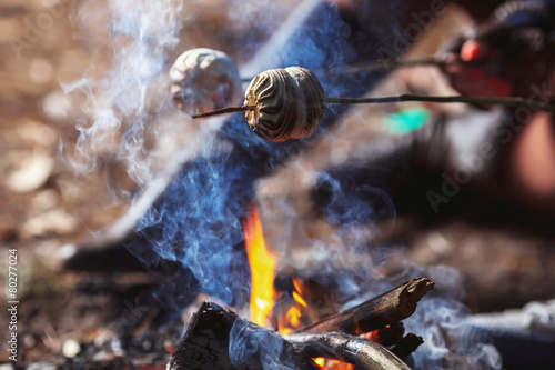 Marshmallow on a stick roasted over a camping fire - 80277024