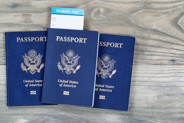 United States Passports on aged wood