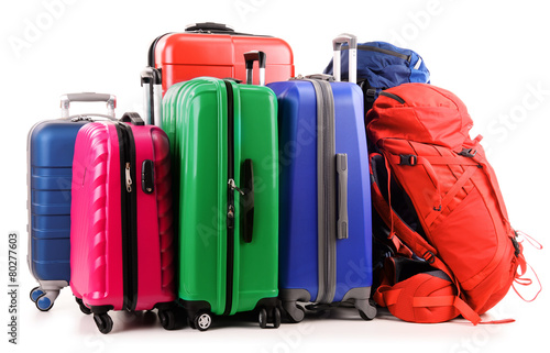 Suitcases and rucksack isolated on white - 80277603