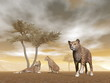 Jaguars in the savannah - 3D render