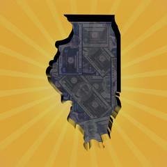 Illinois map on dollars sunburst illustration