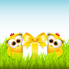 Funny chickens with a gift