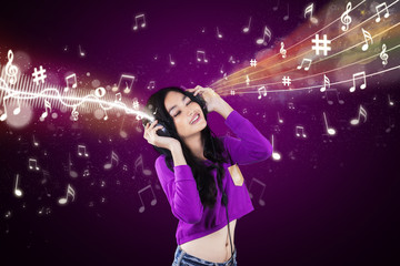 Dj enjoy music with purple background