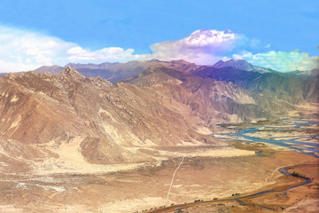 Yarlung tsangpo-river valley. Tibet-China. 1139