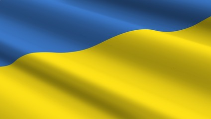 Ukrainian flag background. Computer generated 3D photo rendering