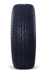 Closeup of black tire isolated