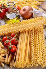 Durum wheat pasta and ingredients