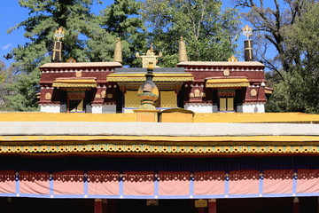 Dhvajas atop roof. Kelsang Phodrang-Norbulingka-Lhasa. 1255