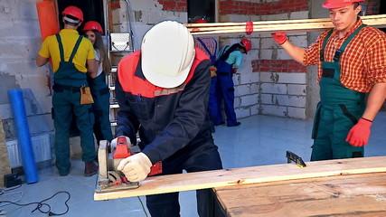 People in builder helmet .